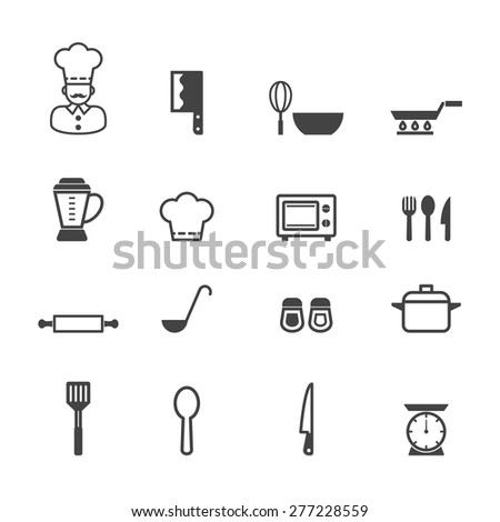 kitchen icons, mono vector symbols - stock vector