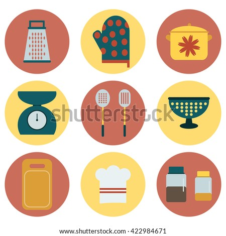 Kitchen icons set. Flat design collection. Vector illustration.