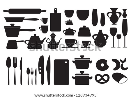 Dishes pan mixer other kitchen objects stock vector for Kitchen design vector