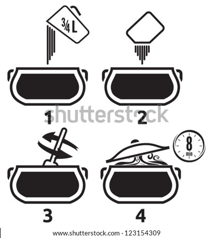 Kitchen icons set how to prepare - stock vector