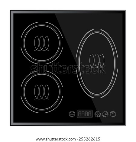 Kitchen - Induction hob household appliances. vector - stock vector