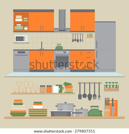 Kitchen interior and shelves with dishes and cooking utensils. Front view interior set. Flat design style, vector illustration. - stock vector