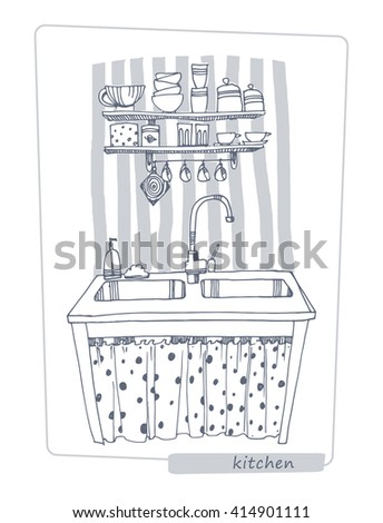 Cafeteria line stock photos royalty free images vectors for Kitchen set drawing