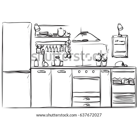 Kitchen Interior Drawing Furniture Sketch