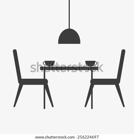 Kitchen Interior Food Cooking And Dining Room Furniture Silhouette