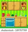 Kitchen interior. vector - stock vector