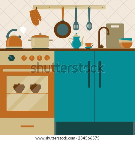 kitchen interior with furniture, oven and cooking utensils in retro flat style - stock vector