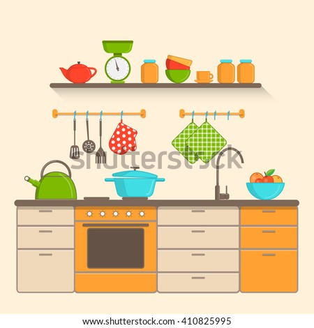 Kitchen interior with utensils, furniture and tools in flat style. Vector illustration. - stock vector