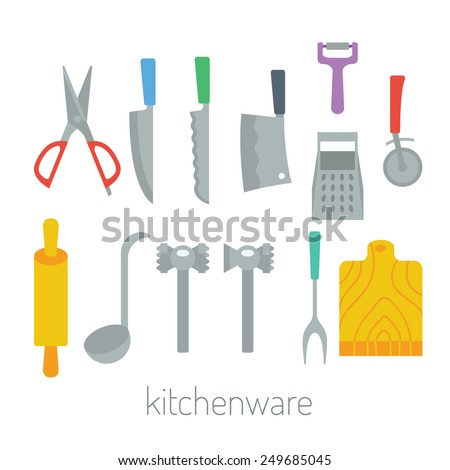 kitchen items  - kitchenware colorful vector flat design set