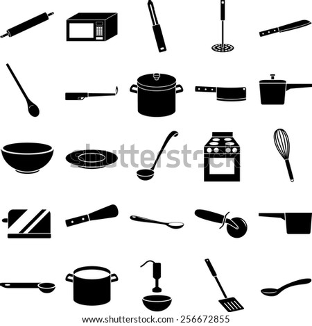 kitchen items symbols set - stock vector