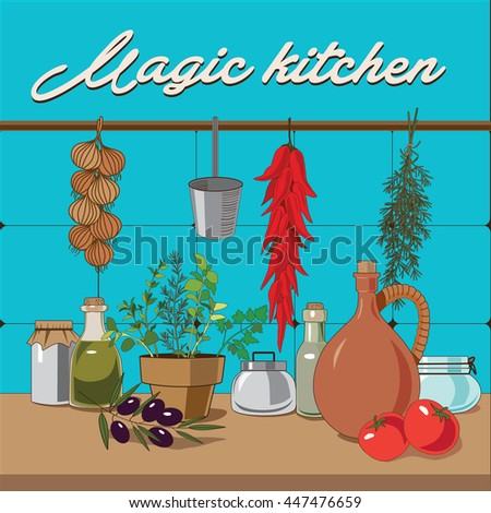 Kitchen items, vegetables and herbs vector illustration - stock vector