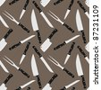 Kitchen knifes seamless background pattern. Vector illustration. - stock vector