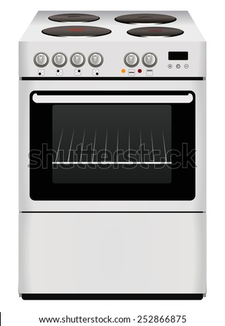 Kitchen object concept - Free 3d standing electric cooker. Stove with glass oven, four burner, buttons and display. Realistic style design, vector art image illustration, isolated on white background - stock vector