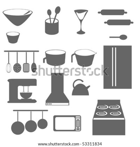 Kitchen objects icons in grayscale or silhouette - stock vector