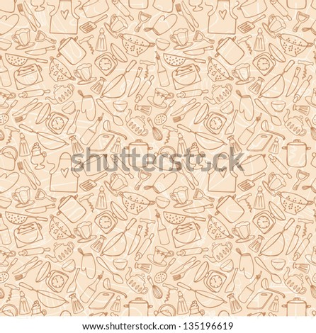 Kitchen objects seamless background - stock vector