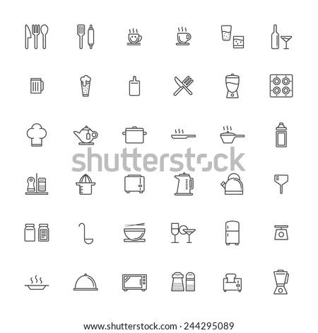 Kitchen Outline Icon Set - stock vector