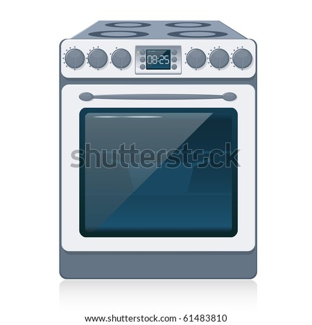 Kitchen Oven isolated on white. Vector illustration. EPS10 - stock vector