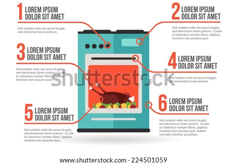 Kitchen oven with roast chicken infographic vector illustration - stock vector