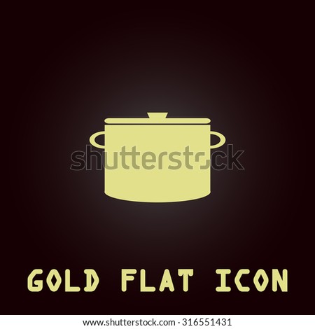Kitchen pan. Gold flat vector icon. Symbol for web and mobile applications for use as logo, pictogram, infographic element - stock vector