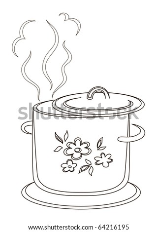 Kitchen pan with a pattern from flower and leaves, silhouette, contours - stock vector