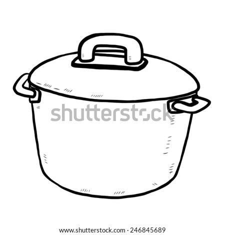 kitchen pot / cartoon vector and illustration, black and white, hand drawn, sketch style, isolated on white background. - stock vector
