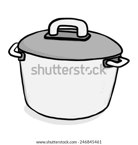 kitchen pot / cartoon vector and illustration, grayscale, hand drawn style, isolated on white background. - stock vector