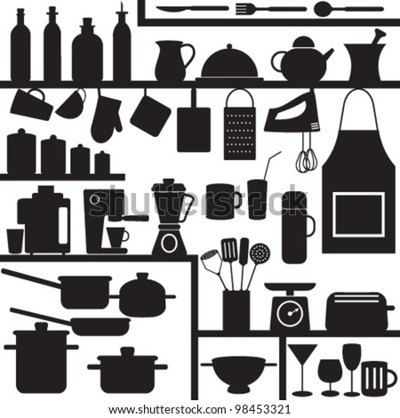 Kitchen related symbols - stock vector