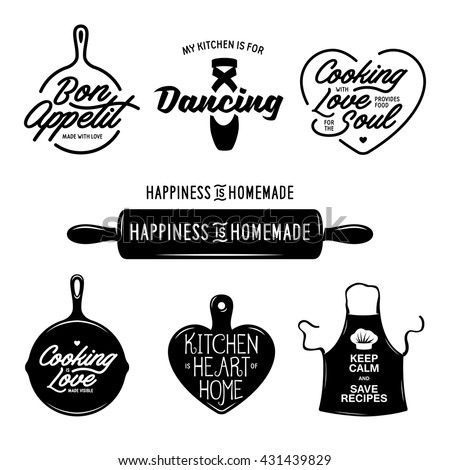 Kitchen related typography set. Quotes about cooking. Cooking wordings. Bon appetit. My kitchen is for dancing. Vintage vector illustration.