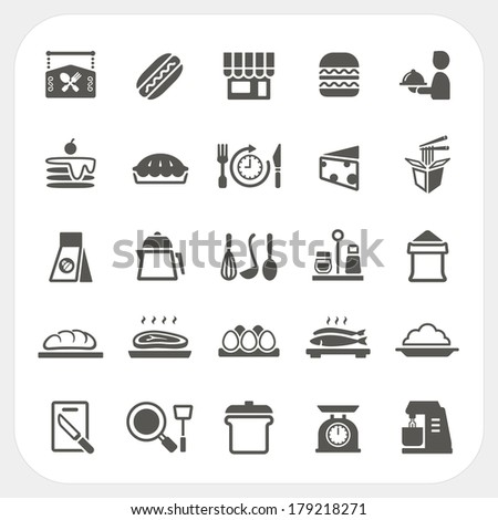 Kitchen Restaurant and Food icons set - stock vector