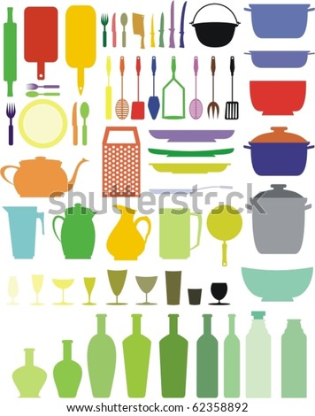 kitchen/restaurant elements (colored, colorful) - stock vector