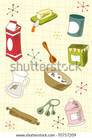 Kitchen retro elements over cream tablecloth background. Vector avaliable. - stock vector