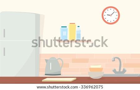 Kitchen room - stock vector