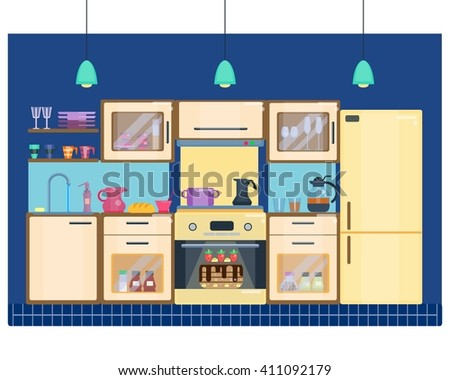 Kitchen room interior with utensils, appliances and furniture. Stove and oven, fridge and kitchen furniture. Flat home interior. Vector illustration