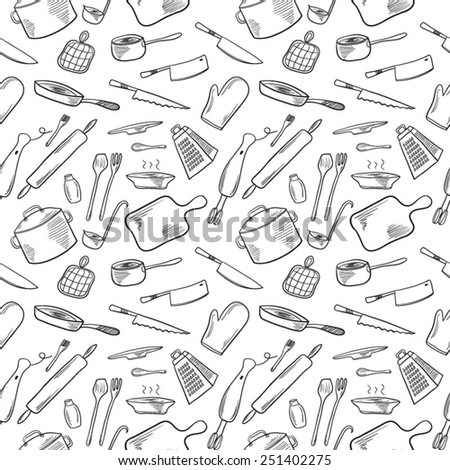 Kitchen seamless background black and white - stock vector