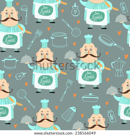 Kitchen Seamless pattern background with Happy Cook  - stock vector