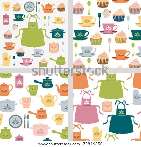 Kitchen seamless pattern set - stock vector