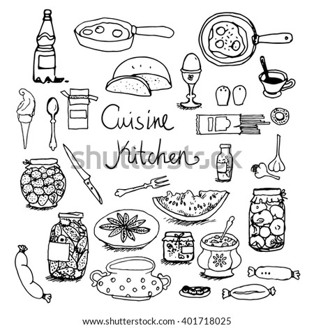Kitchen set hand-drawn line sketches food, dishes, cooking