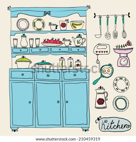 kitchen set in vector. Design elements: kitchen Cabinet, kitchen utensils, mixer, scales, and other - stock vector
