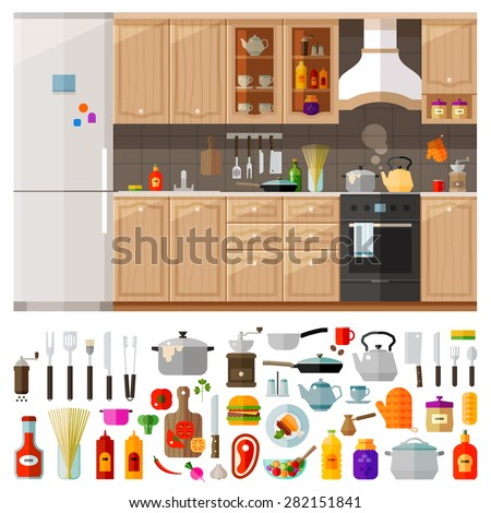 kitchen. set of elements - utensils, tools, food, kettle, pot, knife, spices, noodles, coffee grinder, refrigerator, furniture, ketchup, kitchen stove, oil, frying pan and other - stock vector