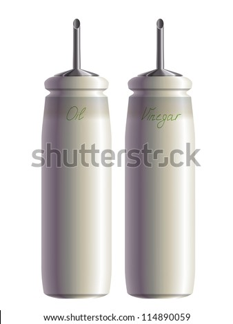 Kitchen set of oil and vinegar bottles. Eps10 - stock vector