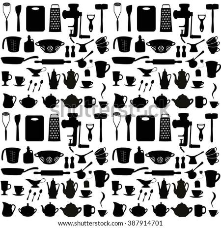 Kitchen set. Seamless pattern. Vector illustration - stock vector