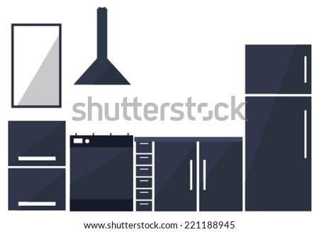 kitchen set. vector illustration - stock vector