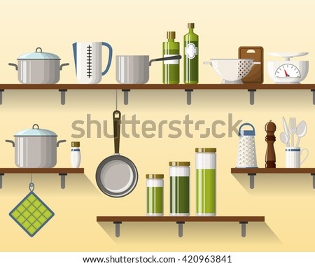 Kitchen shelving with tableware, seamless, part 2 of 4