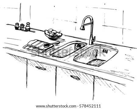 kitchen sink clipart black and white. kitchen sink. worktop with the sketch of sink clipart black and white s