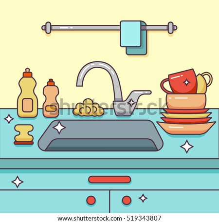 Clean Kitchen Sink Clipart