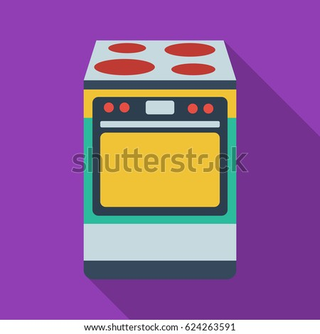 Kitchen stove icon in flate style isolated on white background. Kitchen symbol stock vector illustration.