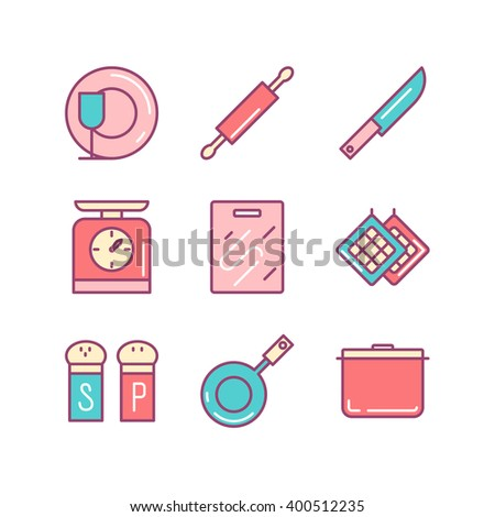 Kitchen stuff icons sings set. Thin line art icons. Flat style illustrations isolated on white. Line icons for design projects. - stock vector