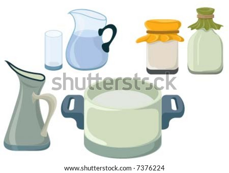 kitchen stuff like Carafe, pot, cooker - stock vector