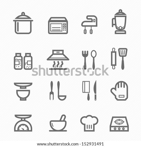 Kitchen symbol line icon on white background vector illustration - stock vector