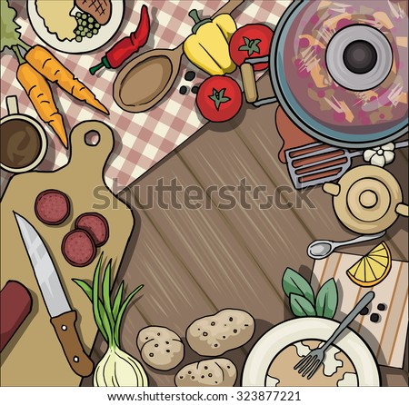 Kitchen table top viewed from the top, with various food items and vegetables, vector illustration - stock vector